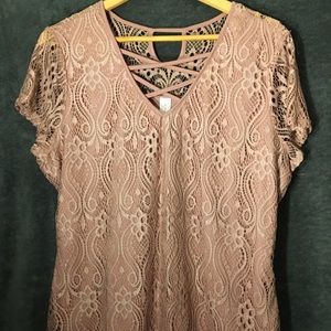 Rose Colored Lace Overlay Top